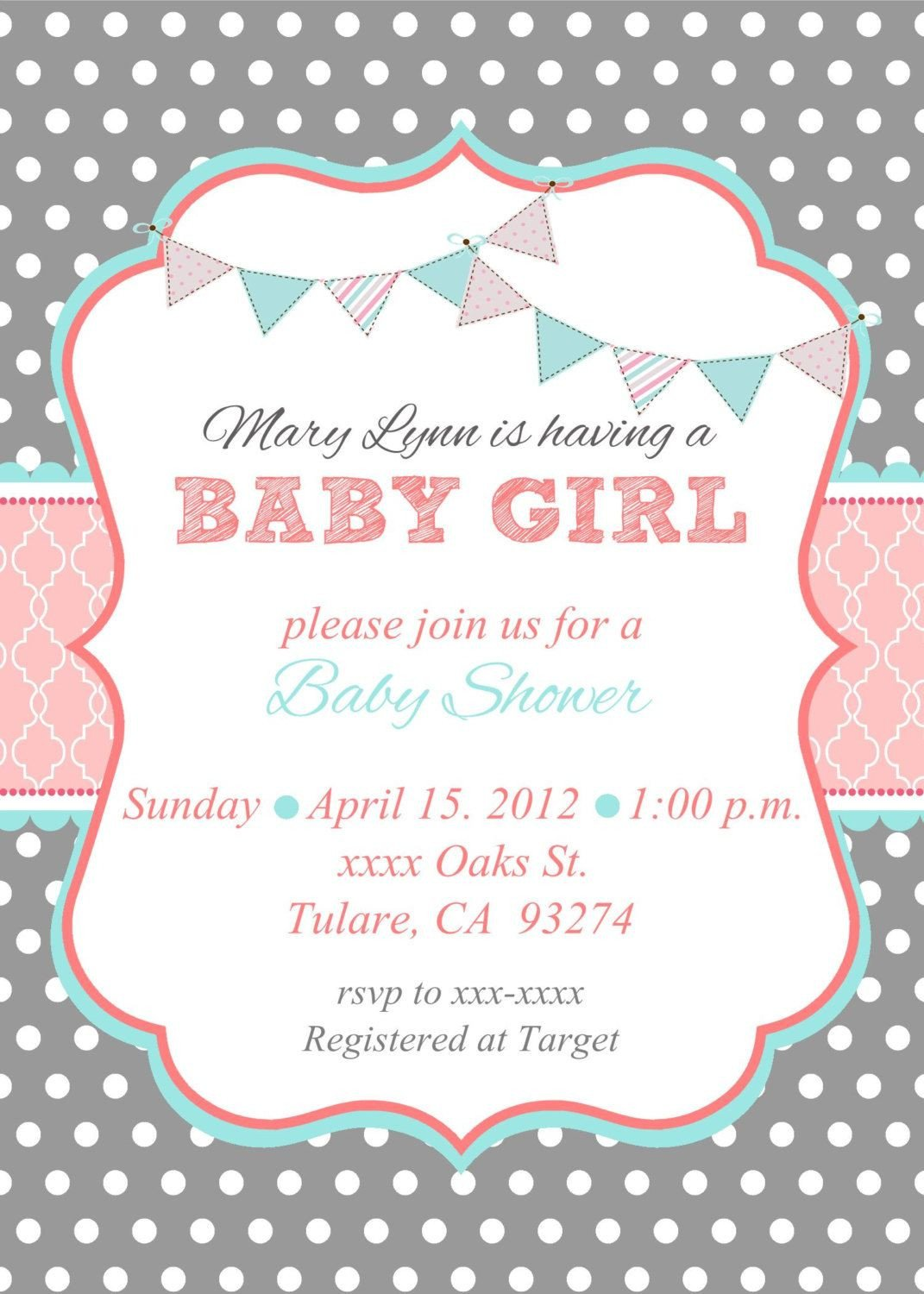 Baby Shower Templates Girl Loca Date Time Line About Diaper Raffle & Spa Prize