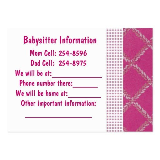Babysitting Business Card Template Babysitter Note Card Business Cards Pack 100