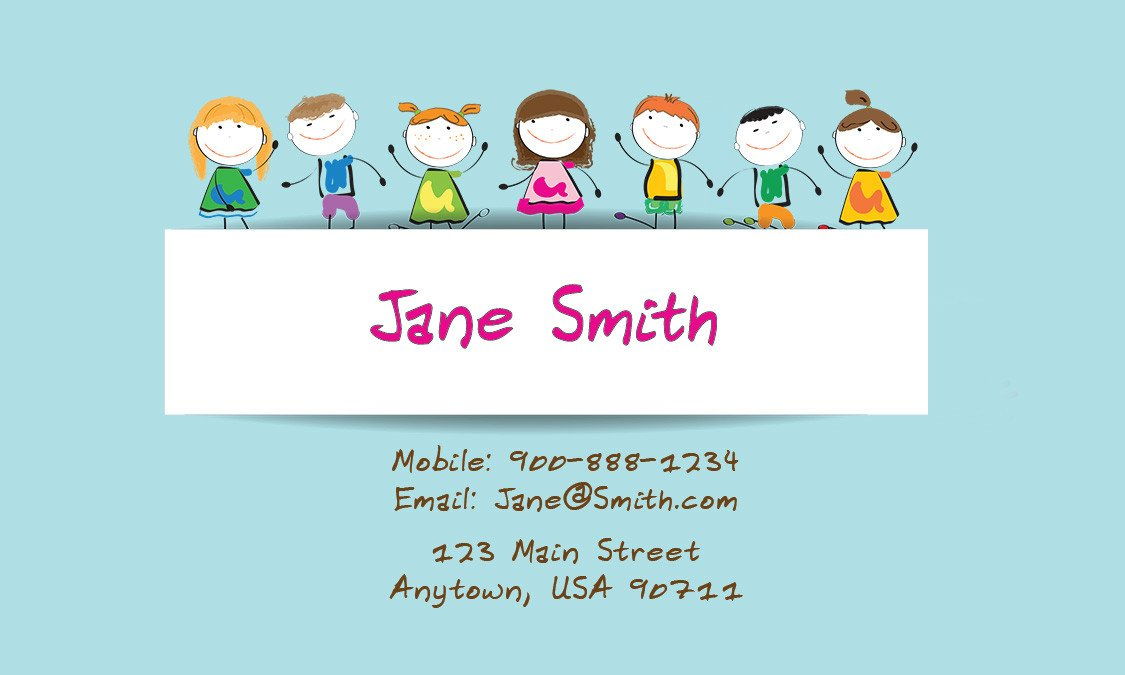 Babysitting Business Card Template Babysitting and Day Care Business Cards