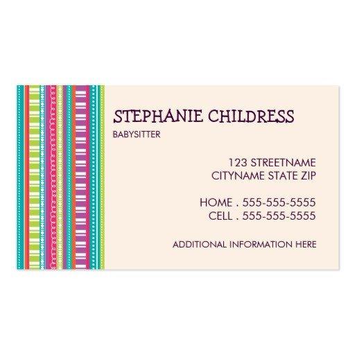 Babysitting Business Card Template Babysitting Business Card Templates