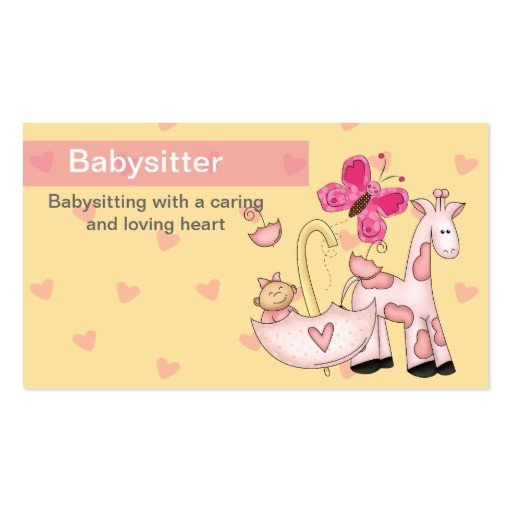 Babysitting Business Card Template Babysitting Business Cards