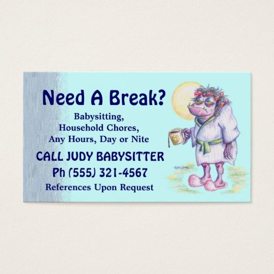 Babysitting Business Card Template Babysitting Household Chores Business Card