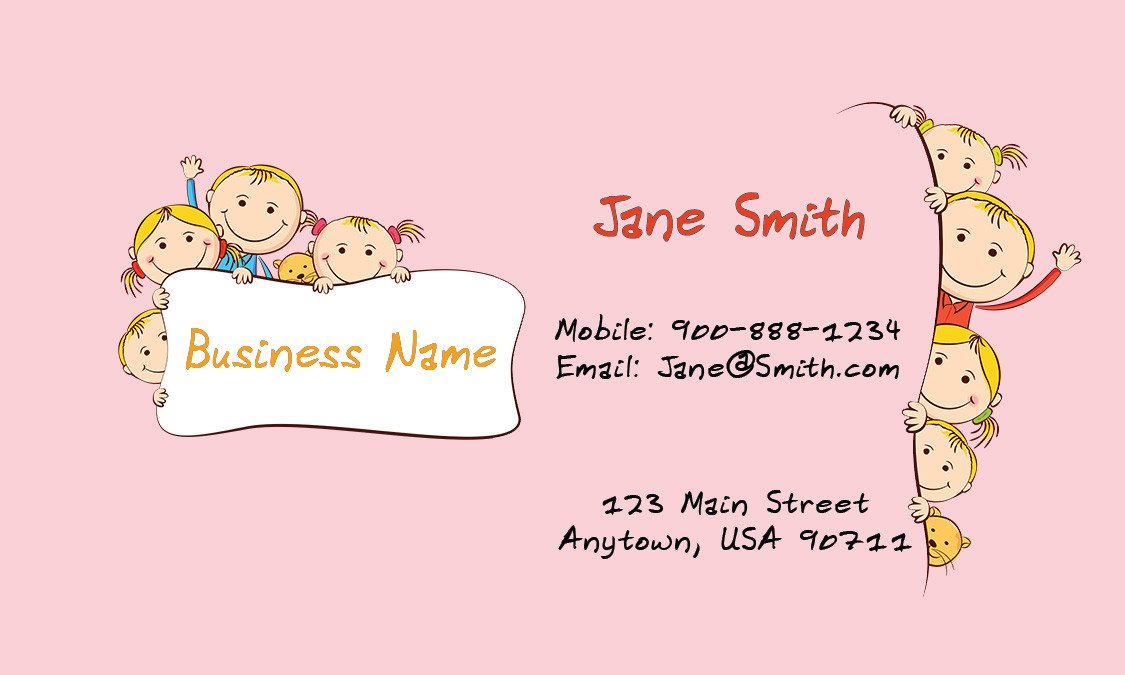 Babysitting Business Card Template Child Care Business Cards