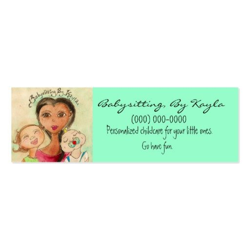 Babysitting Business Card Template Childcare Babysitting Card Double Sided Mini Business