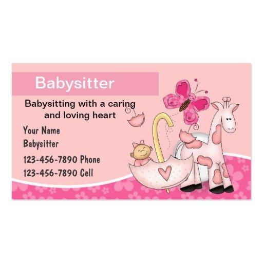Babysitting Business Card Template Line Babysitter Business Cards