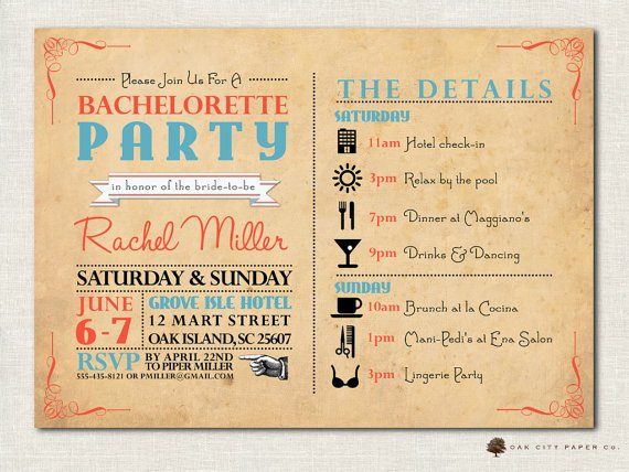 Bachelorette Itinerary Template Free Bachelorette Invitation Bachelorette Party by