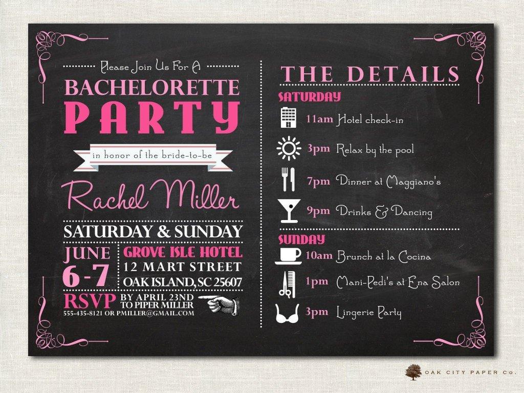 Bachelorette Itinerary Template Free Bachelorette Invitation Bachelorette Party Invitation