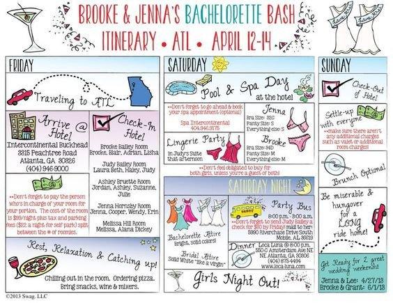 Bachelorette Itinerary Template Free Bachelorette Itinerary Templates and Google On Pinterest