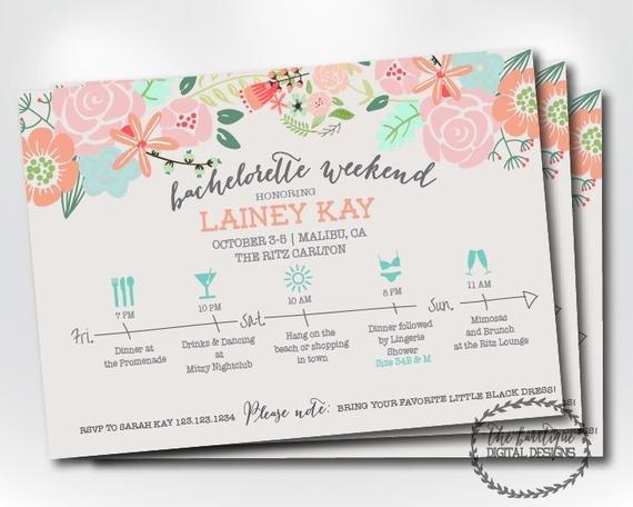 Bachelorette Itinerary Template Free Bachelorette Party Itinerary Invitation Bachelorette Weekend