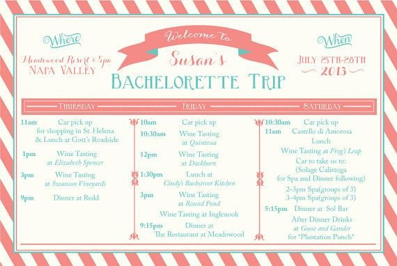 Bachelorette Itinerary Template Free Printable Bachelorette Weekend Itinerary Birthday Weekend