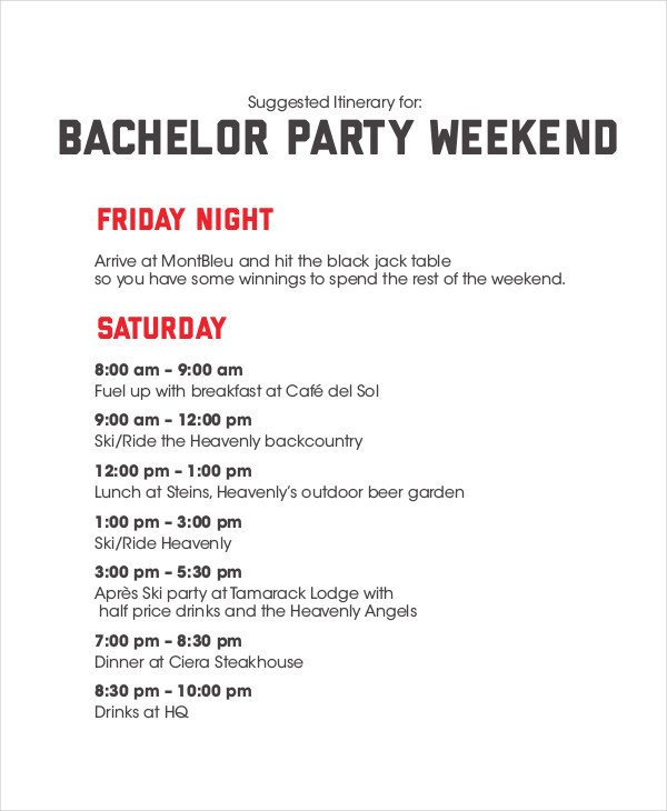 Bachelorette Itinerary Template Free Weekend Itinerary Template 6 Free Pdf Documents