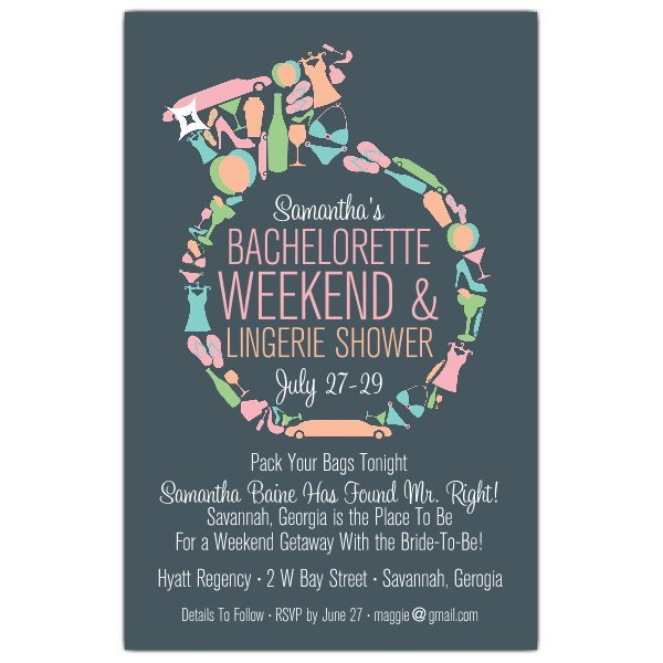 Bachelorette Party Invitation Template Diamond Ring Bachelorette Invitations
