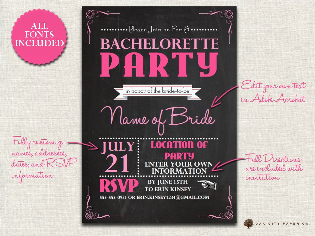 Bachelorette Party Invitation Templates Bachelorette Invitation Chalkboard themed Bachelorette Party