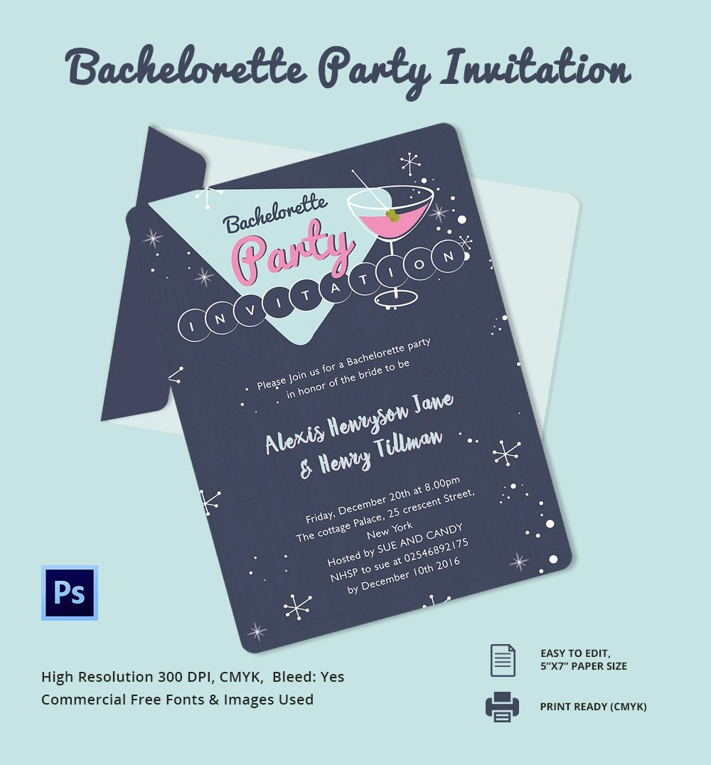 Bachelorette Party Invitation Templates Bachelorette Invitation Template 40 Free Psd Vector