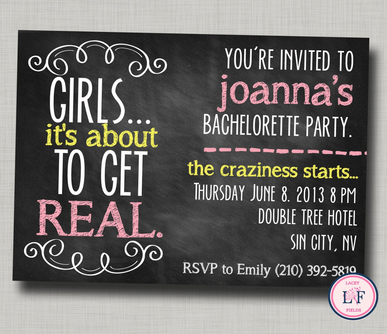 Bachelorette Party Invitation Templates Bachelorette Party Invitation Printable Chalkboard by