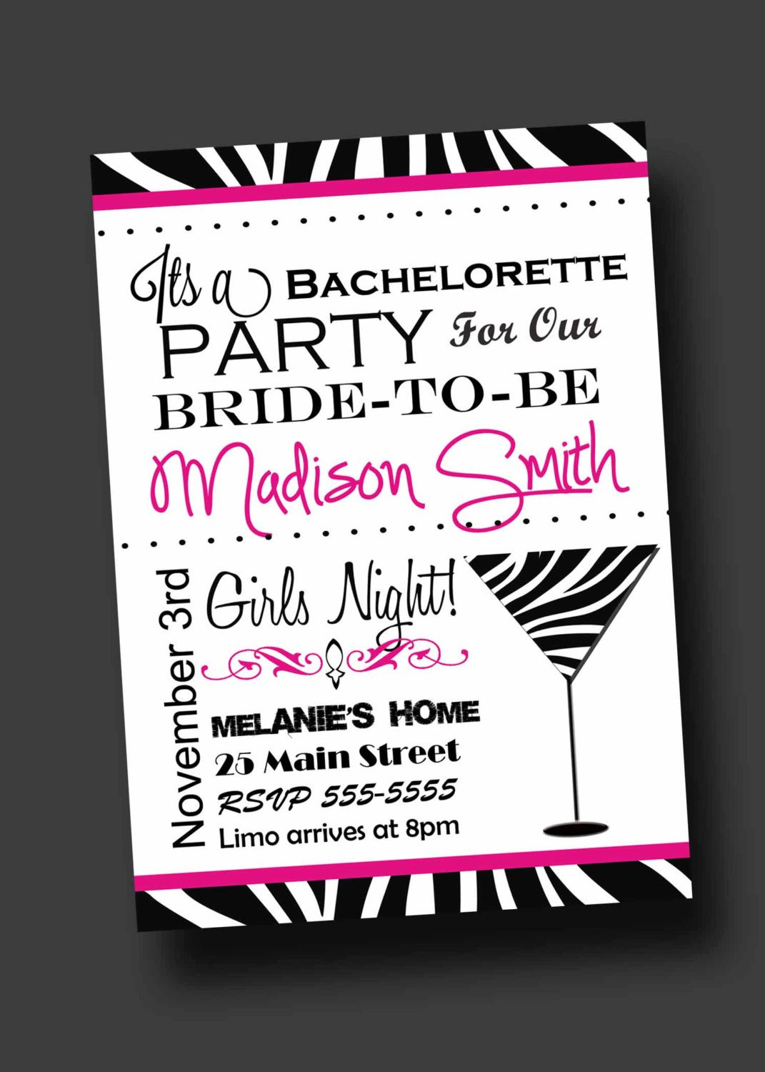 Bachelorette Party Invitation Templates Bachelorette Party Invitation Zebra Print Printable Digital