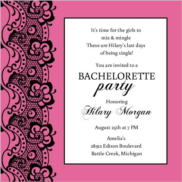 Bachelorette Party Invitation Templates Black Lace and Pink Bachelorette Party Invitation