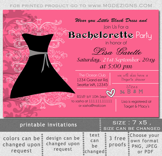 Bachelorette Party Invitation Templates Printable Little Black Dress Bachelorette Party Invitation