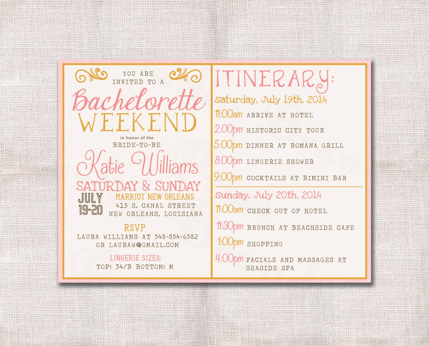 Bachelorette Party Invitations Template Free Bachelorette Party Weekend Invitation and Itinerary Custom
