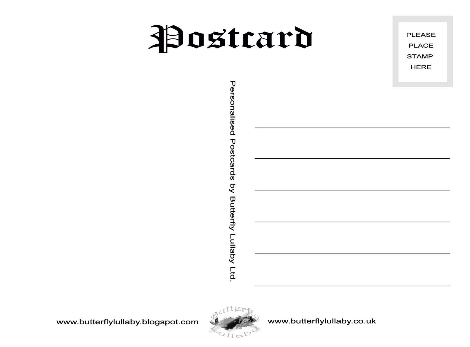 Back Of Postcard Template Free Vintage Postcard Templates