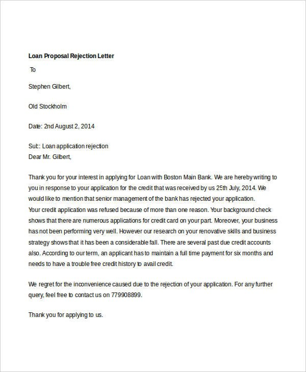 Bad News Letter Template 8 Proposal Rejection Letter Templates 7 Free Word Pdf