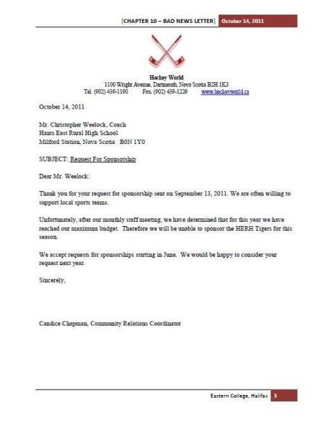 Bad News Letter Template Candice Chapman S Line Portfolio