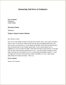 Bad News Letter Template Letter Announcing Bad News to Employees Download at