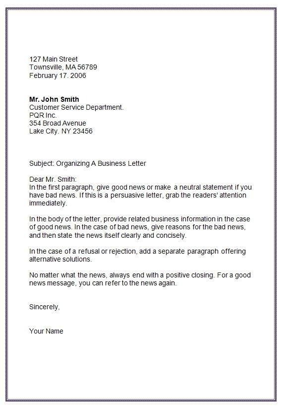 Bad News Letter Template Letter formats Mla Business Letter format Template