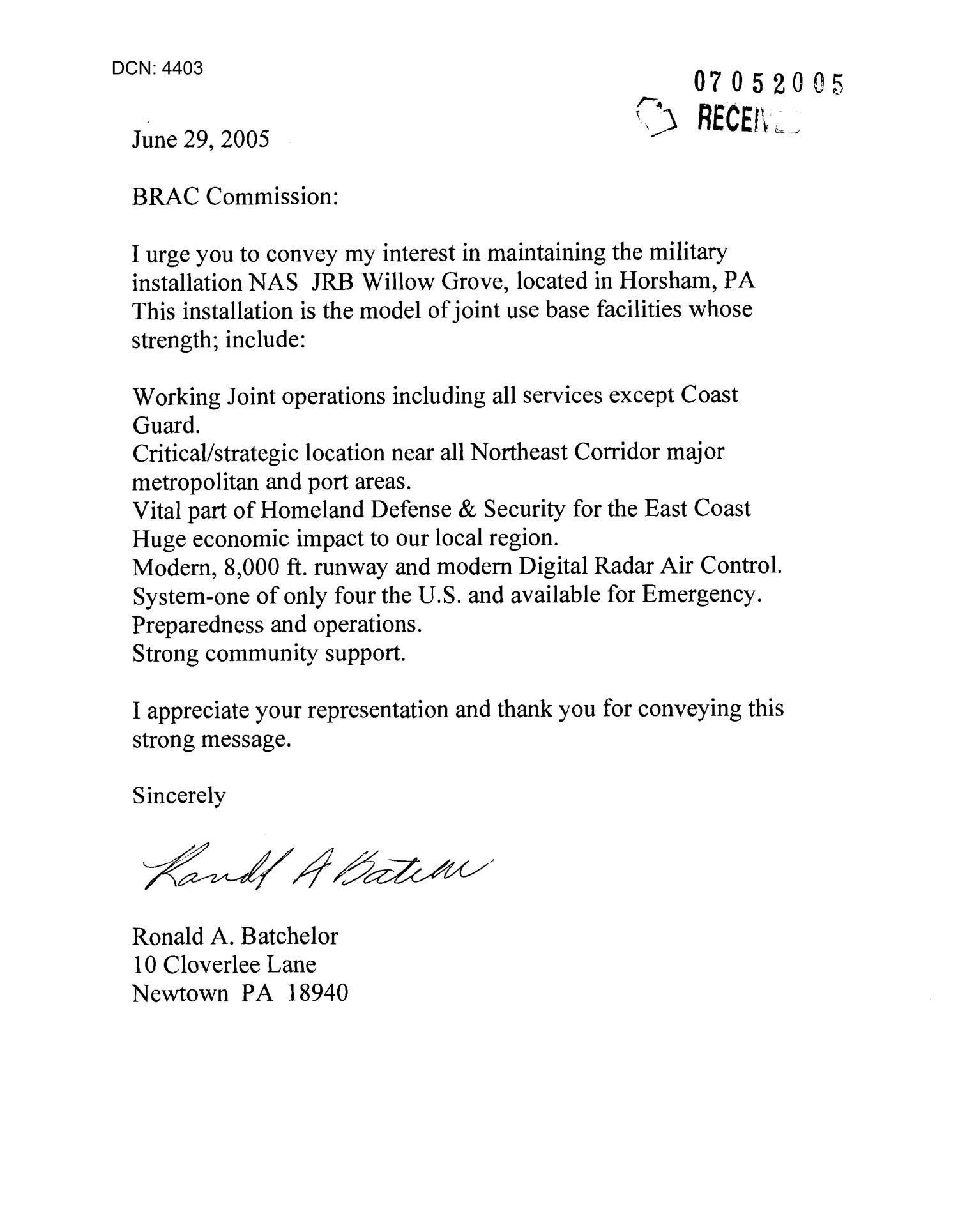 Bad News Letter Template Letter From Ronald A Batchelor to the Mission In