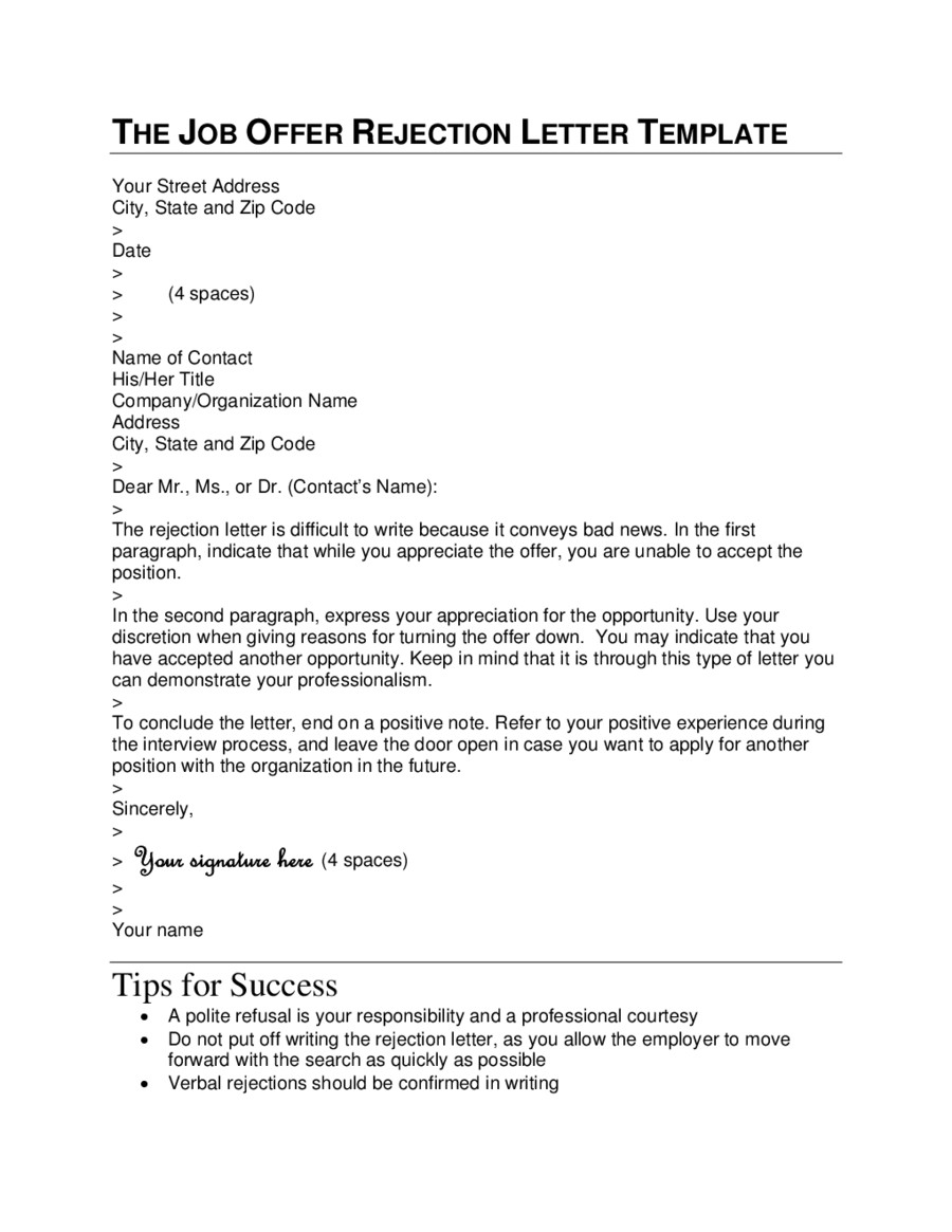 Bad News Letter Template the Job Offer Rejection Letter Template Edit Fill Sign