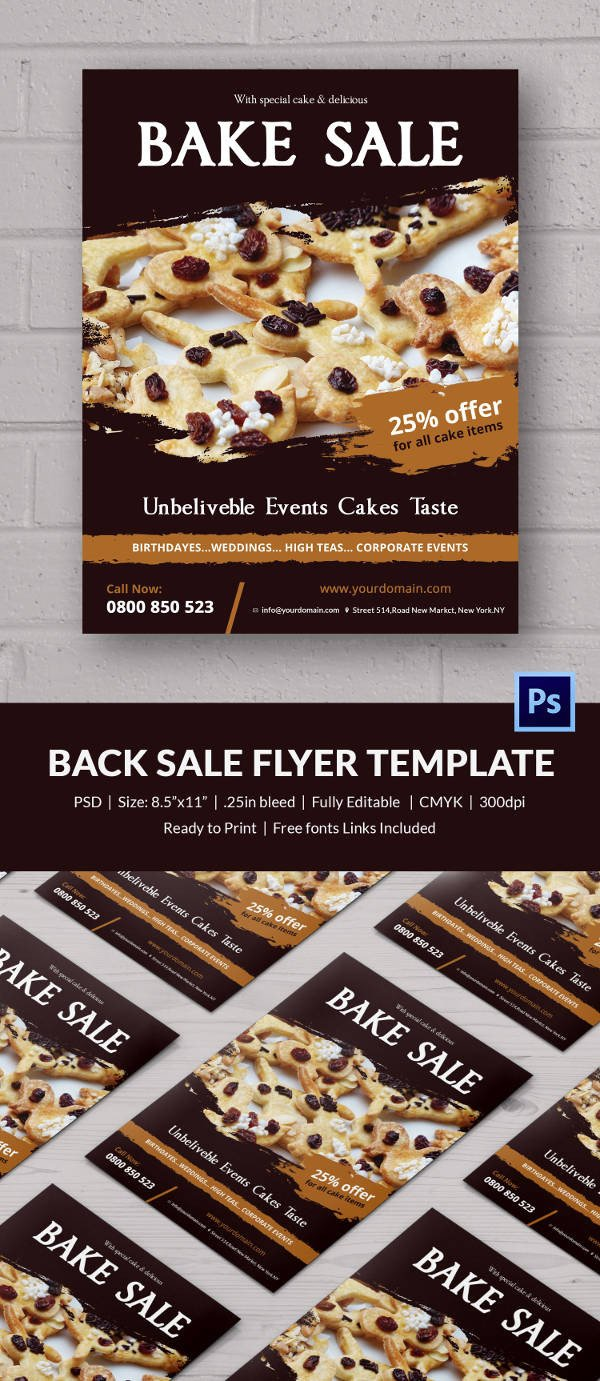 Bake Sale Flyer Template Bake Sale Flyer Template 24 Free Psd Indesign Ai