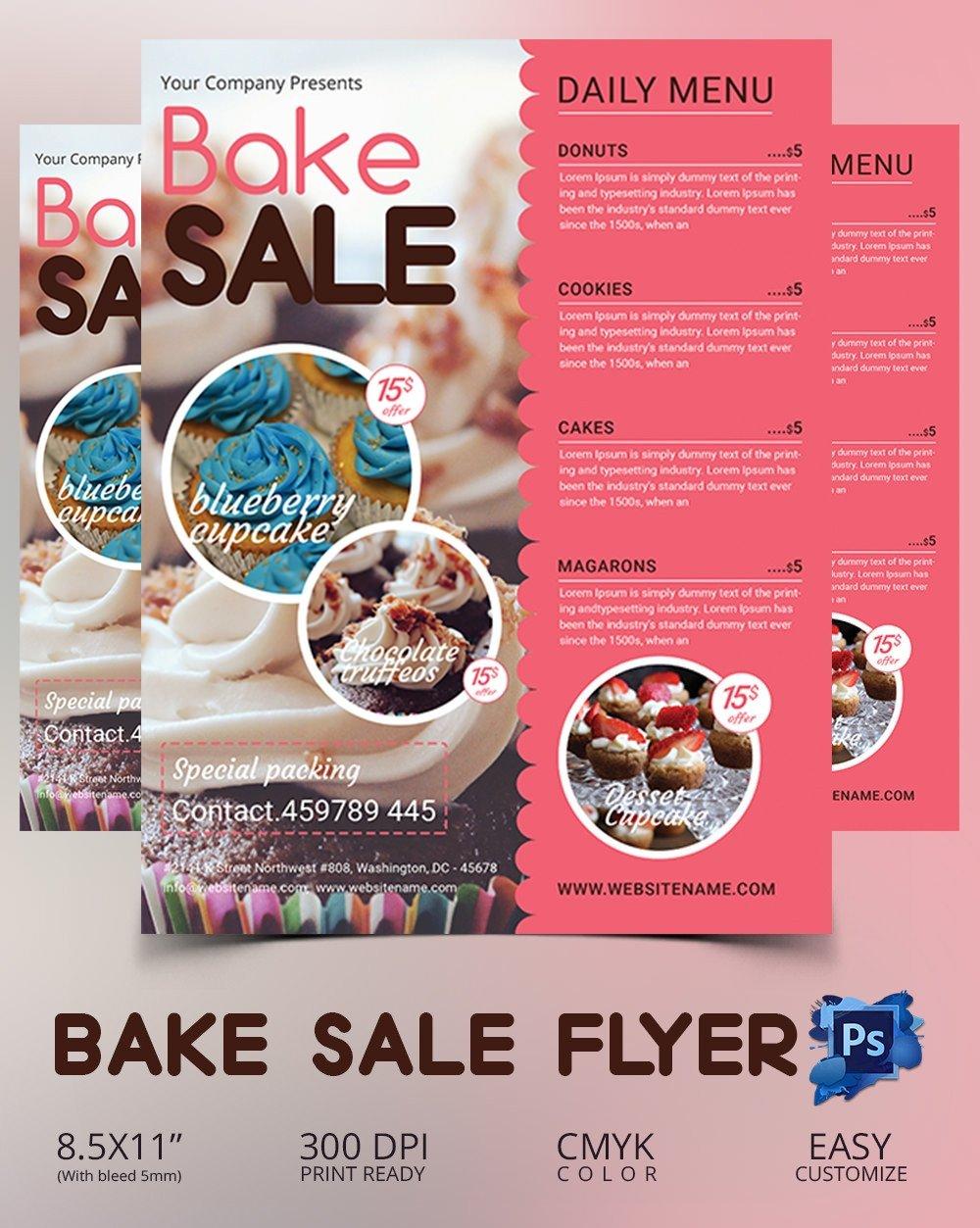 Bake Sale Flyer Template Bake Sale Flyer Template 34 Free Psd Indesign Ai