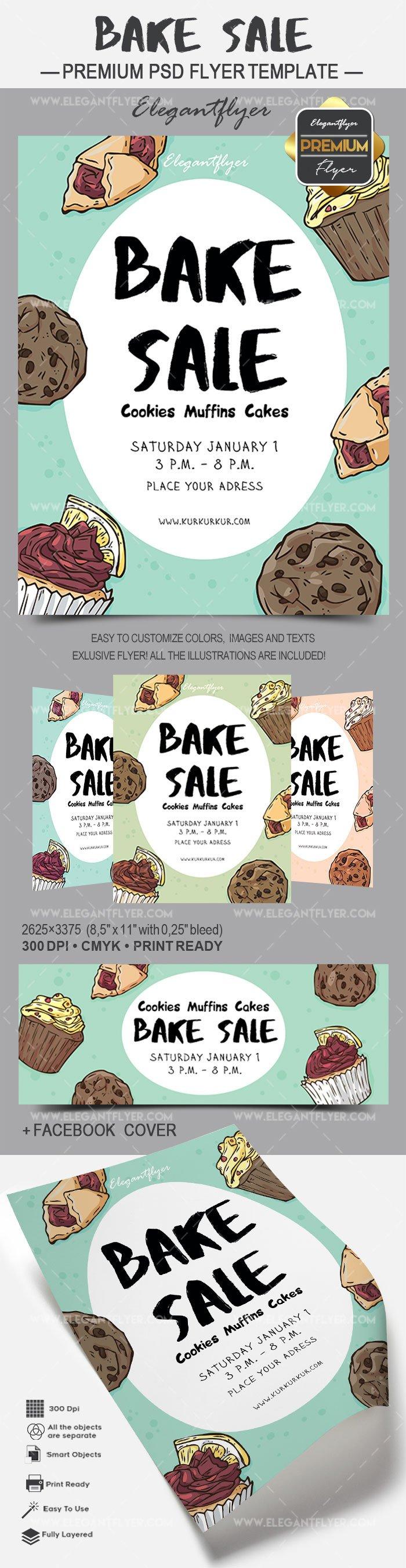Bake Sale Flyer Template Flyer for Bake Sale Cookies Muffins Cakes – by Elegantflyer