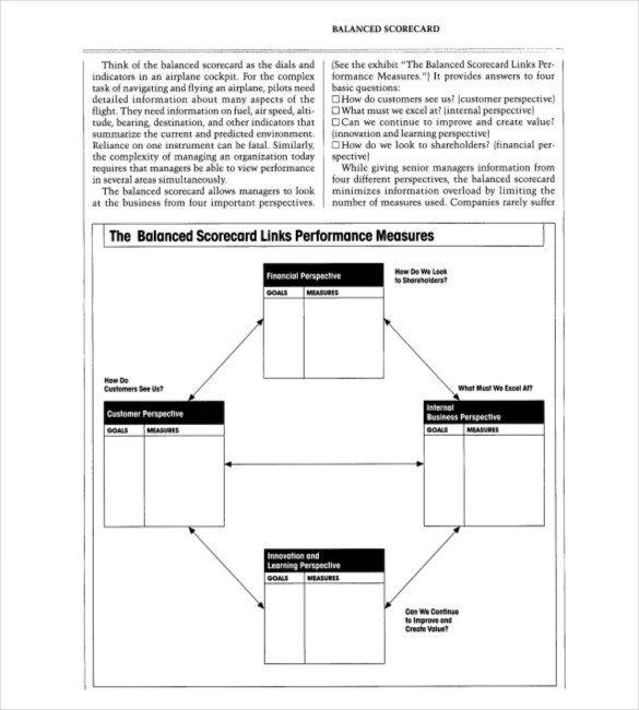 Balanced Scorecard Template Word 13 Balanced Scorecard Templates Pdf Doc Xls