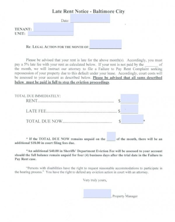 Baltimore City Eviction Notice form Free Maryland Eviction Notice for Late Rent