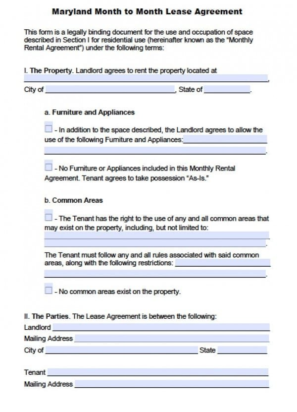 Baltimore City Eviction Notice form Free Maryland Month to Month Lease Agreement Pdf