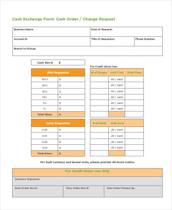 Bank Change order form Template 8 Money order forms Free Samples Examples format