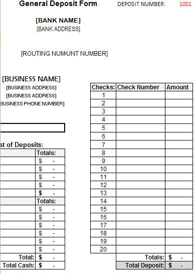 Bank Change order form Template Bank Deposit Slip