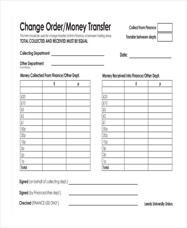 Bank Change order form Template Money order forms 8 Free Word Pdf format Download