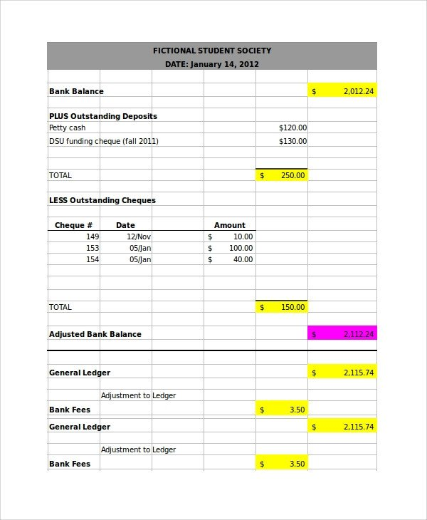 Bank Reconciliation Excel Template Bank Reconciliation Example 7 Samples In Word Pdf Excel