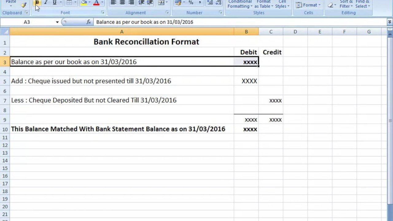 Bank Reconciliation Excel Template Bank Reconciliation Statement format In Excel after Seen