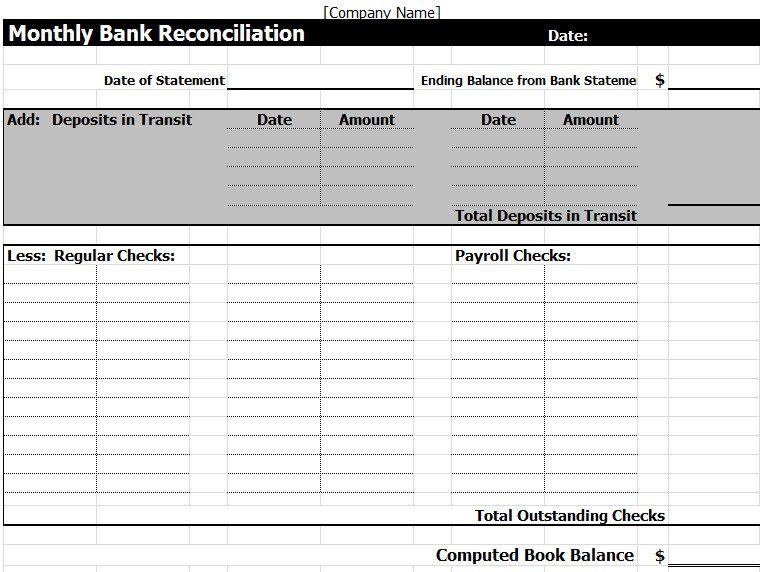 Bank Reconciliation Excel Template Bank Reconciliation Template In Excel
