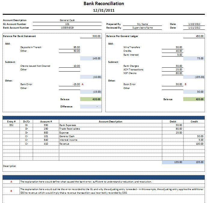 Bank Reconciliation Excel Template Free Excel Bank Reconciliation Template Download