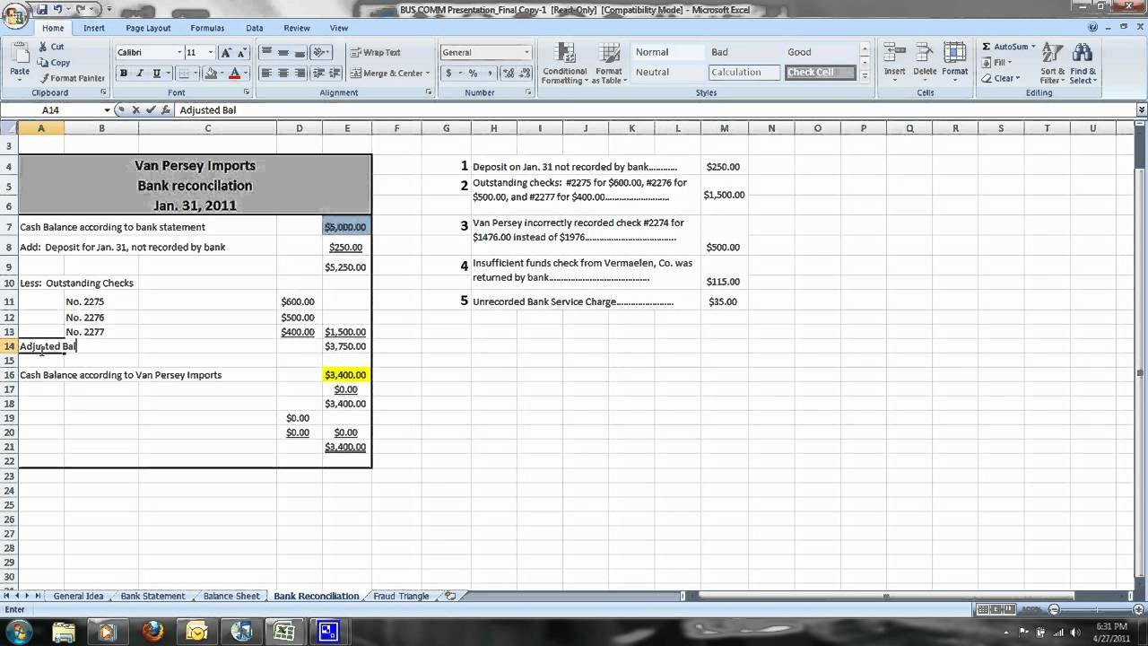 Bank Reconciliation Excel Template How to Do A Simple Bank Reconciliation