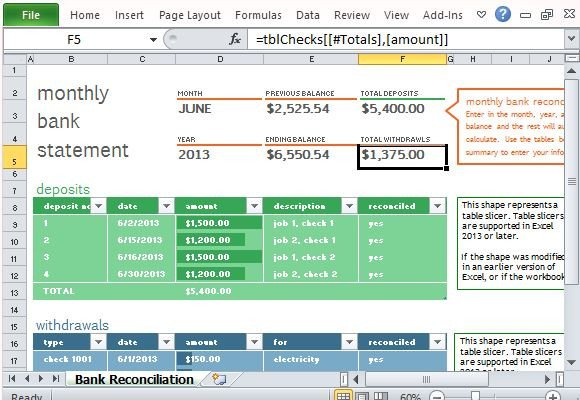 Bank Reconciliation Excel Template Monthly Bank Reconciliation Template for Excel