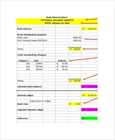 Bank Reconciliation Excel Template Sample Bank Reconciliation form 9 Examples In Pdf Word