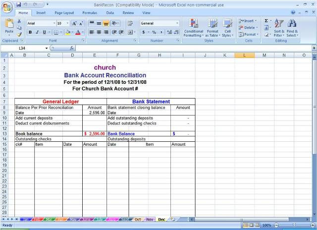 Bank Reconciliation Excel Template Sample Bank Reconciliation Statement format