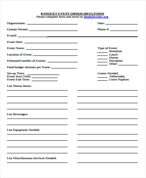Banquet event order Template 9 event order forms Free Samples Examples format