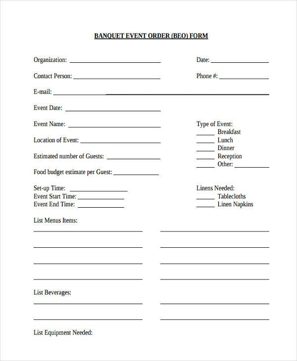 Banquet event order Template Sample event forms 38 Free Documents In Word Pdf