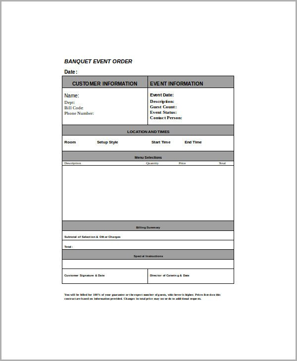 Banquet event order Template Sample event order form 8 Examples In Word Pdf